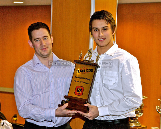 Team1200's Junior Hockey Broadcaster Jon Abbott presented the first Team1200 Hardest Working 67's Trophy to Petr Mrazek