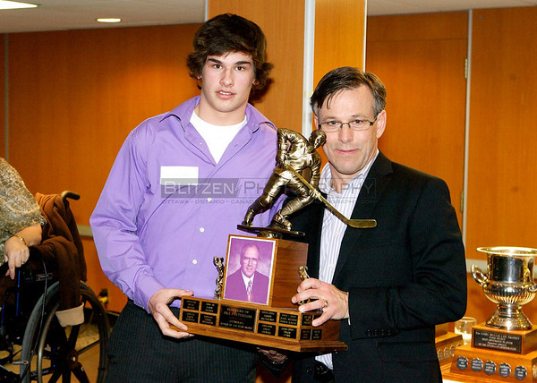 CTV Ottawa's Terry Marcotte presented the Bill Patterson Rookie of the Year Award to Sean Monahan